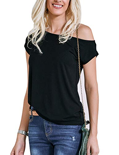 LilyCoco Women's Short Sleeve Casual Off Shoulder Tops Loose Fitted T-Shirt Blouse (X-Large, Black)]()