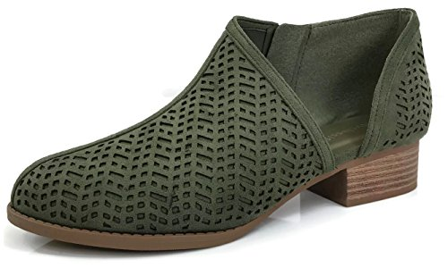 Down Casual Shoes Booties (Womens Ankle Bootie D'Orsay Cut Out Perforated Open Side Closed Toe, Khaki, 8)