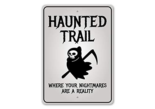Wini2342ckey Haunted Trail Sign Halloween Trail Ride Haunted Trail Halloween Sign Spooky Decor Metal Sign Quality Metal