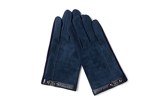 YISEVEN Men's Suede Chamois Leather Gloves Touchscreen Flat Design Plain Lined Luxury Soft Hand Warm Fur Heated Lining for Winter Spring Stylish Dress Work Xmas Gift and Motorcycle Driving, Blue M by YISEVEN (Image #4)