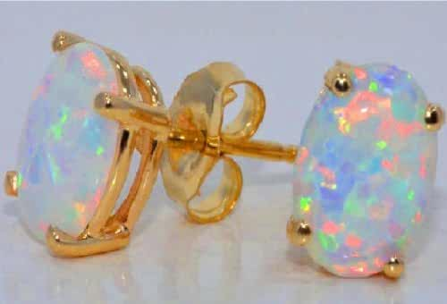 14Kt Yellow Gold Simulated Opal Oval Stud Earrings
