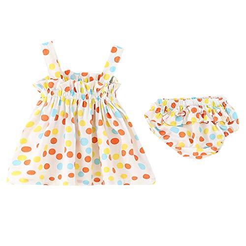 Sunhusing Adorable Toddler Infant Color Polka Dot Print Frilled Off-Shoulder Sleeveless Sling Dress +PP Shorts Set