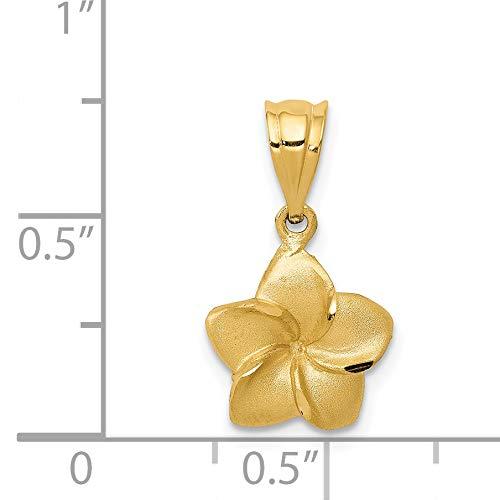 K/&C 14k Yellow Gold Plumeria Floral Charm Pendant
