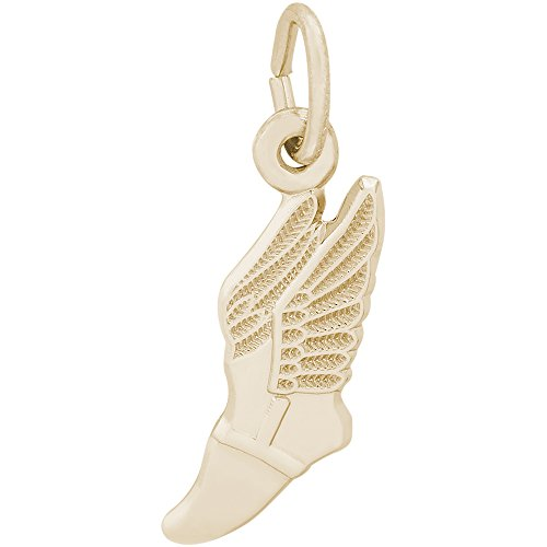 Rembrandt Charms Two-Tone Sterling Silver Winged Shoe Charm (18 x 9 mm)