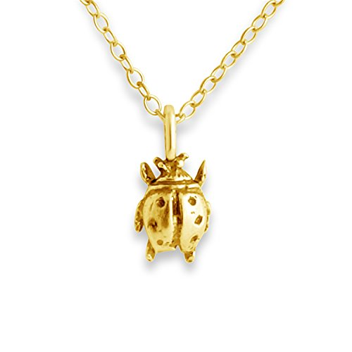 (Azaggi Gold Plated Sterling Silver Handcrafted Ladybug Insect Pendant Necklace (16))