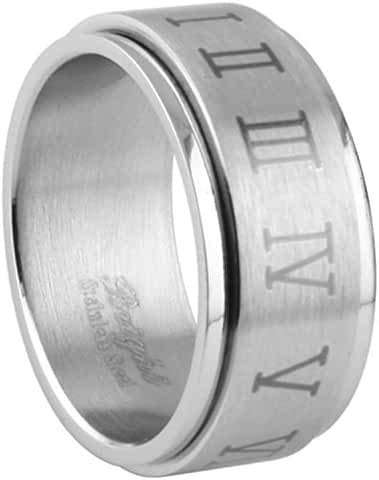 316L Stainless Steel Ring Laser Etched Roman Numerals Dice Design