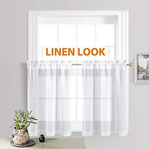 RYB HOME Linen Curtains Sheer White Valance Set for Bathroom, Rod Pocket Voile Textured Window Tiers for Baby Nursery Bedroom Kitchen Cabinet Cafe, Wide 55 x Long 36 inch, 2 Panels (Sheer Inch 36 Curtains)