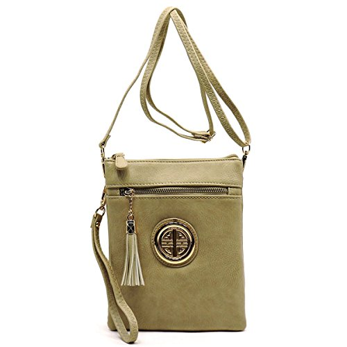 Body with Functional and Compartments Multi by tone Glad Bag gold Fashion emblem Three Brick Cross qA1IHxE