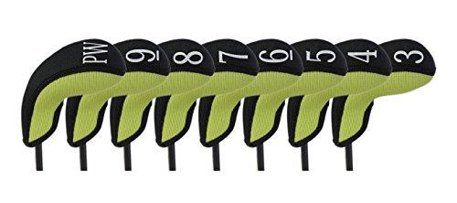 (Stealth Club Covers 18120 Hybrid Set 3-PW Golf Club Head Cover (8-Piece), Wasabi Green/Black)