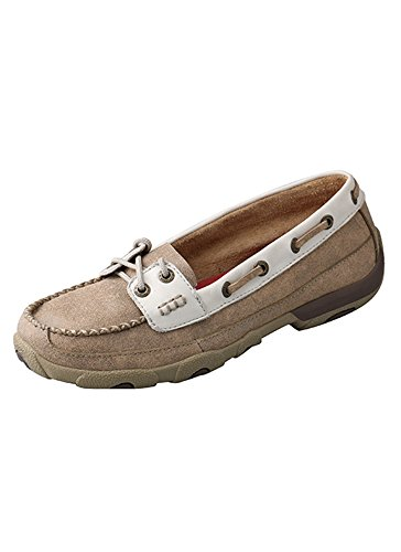 Twisted X Ladies Dusty Tan/White Driving Mocs 8M