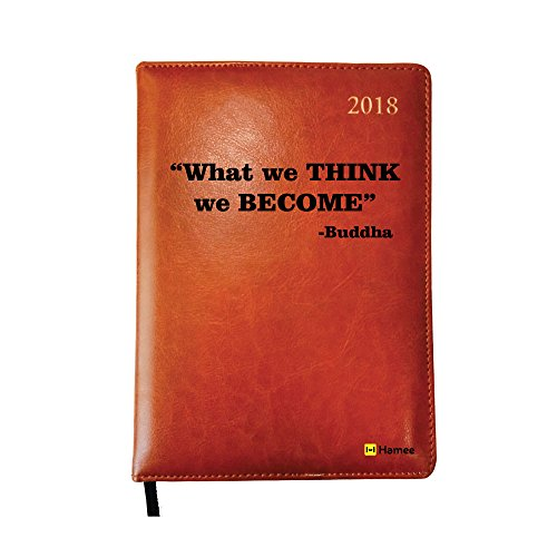 2018 Diary, Hamee Leather Printed Daily Diary 2018 Calendar Year Daily Hardbound Planner (Think- Buddha)