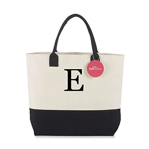 Kate Aspen Tote Bag, Classic Monogrammed Black White E