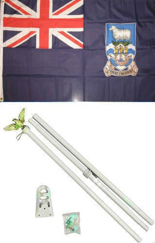 ALBATROS 3 ft x 5 ft Falkland Island Flag White with Pole Kit Set for Home and Parades, Official Party, All Weather Indoors Outdoors ()