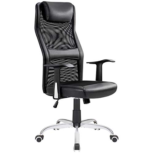 Homall Mesh Office Chair High Back Desk Chair PU Leather Computer Chair Executive Swivel Chair Task Chair with Thick Headrest and Built-in Lumbar Support (Black) by Homall