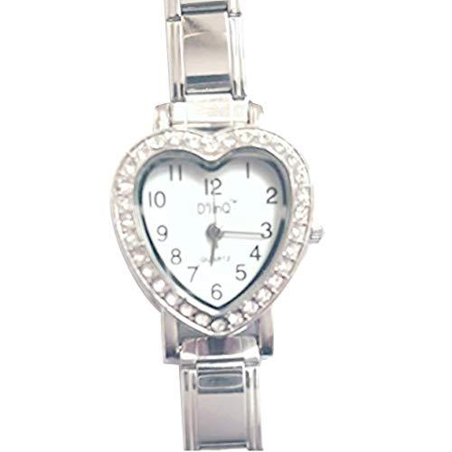 D'Linq CZ Heart White Face Italian Charm Bracelet Watch