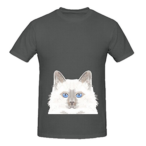 Roxie White Birman Cat Cute Mens Crew Neck Custom Tee Grey