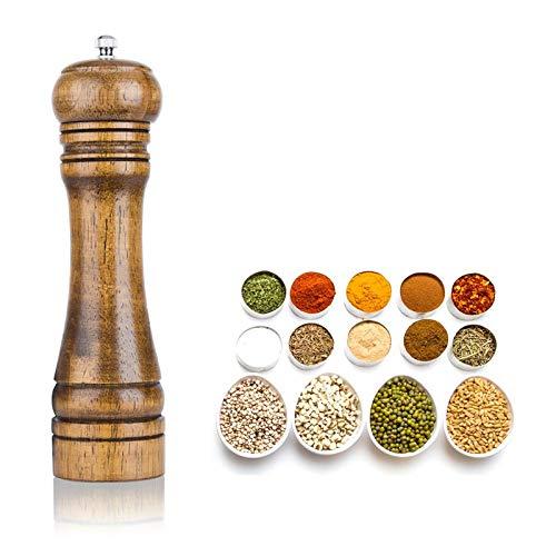 Salt and Pepper Mill, Wooden Pepper Grinder, Salt and Pepper Mill Wood Pepper Mill with Strong Adjustable Ceramic Grinder (8 Inch)