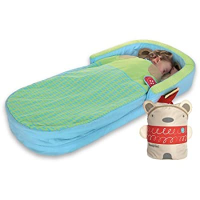 Bear Hug My First Multicolor Kid's Inflatable Bed with Removable, Washable Cover, Pillow and Duvet Ready Bed Includes Pump for Ages 2 Years and Up