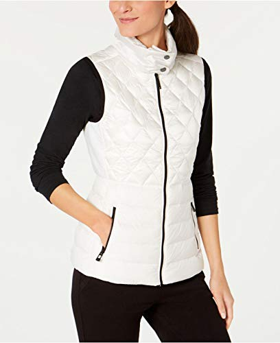 Calvin Klein Womens Quilted Down Vest, Liquid White, Small