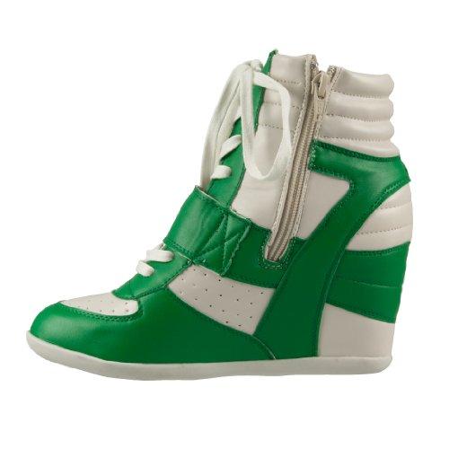 Blink - Botas de tela para mujer verde - Green-White