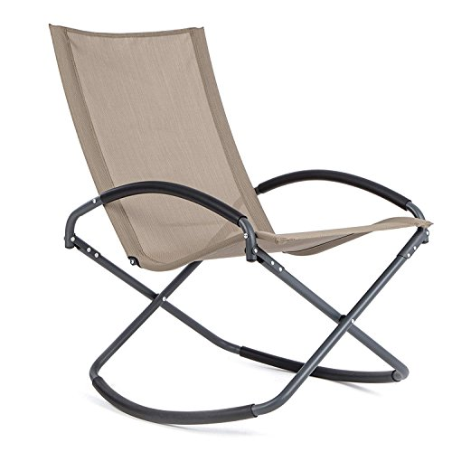 LUCKUP Outdoor Recliner Pool Patio Rocking Wave Chair,Short Style,Brown Review