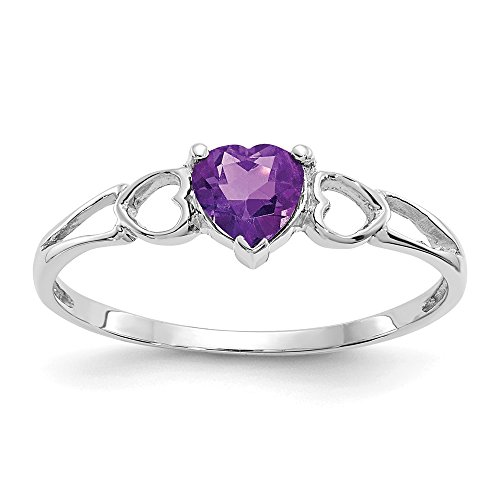 14k White Gold Purple Amethyst Birthstone Band Ring Size 6.00 Stone February Fine Jewelry Gifts For Women For Her