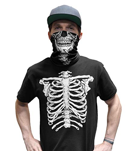 Motorcycle Face Mask Graphic (Glow in The Dark Skeleton T-Shirt with Matching Face Skull Mask Bandana Halloween Costume for Men (XL,Black))