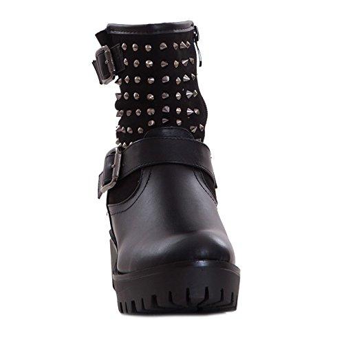 nuovi bassi donna anfibi fibbie Stivali biker 75 16 Nero motociclista Toocool boots borchie npBOx