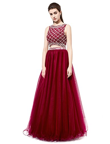 DRESSTELLS Long Prom Dress 2016 Two Pieces Tulle Evening Gowns with Beads Dark Red Size 2