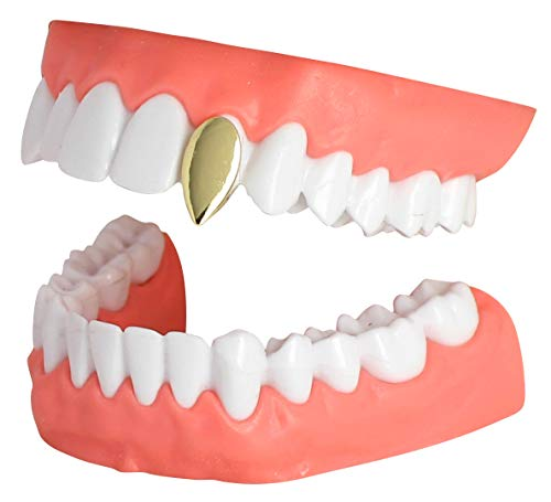 NewAgeBling Fang Single Tooth Dracula Cap Custom Fit 14k Gold Plated Grillz Hip Hop w/Mold]()