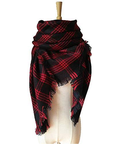 - WINCAN Soft Warm Tartan Plaid Scarf Shawl Cape Blanket Scarves Fashion Wrap (red black)