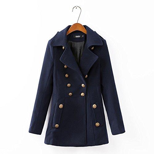 Boutons Acvip Femme Avec Marine Blouson Veste Manteau Bleu Overcoat 1qRCqwTx