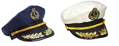 Nicky Bigs Novelties Yacht Captain Hat Sea Skipper White Navy Blue Sailor Cap Costume Boater Hats Set]()
