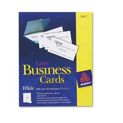 Two-Side Printable Business Cards, Laser, 2 x 3-1/2, White, Uncoated, 2500/Box, Total 5000 EA, Sold as 1 Carton by Avery