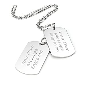 Personalised Double Dog Tag / Identity Pendant Necklace – Both Tags Engraved – Enter Your Custom Text