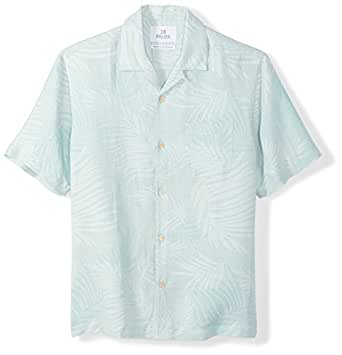 28 Palms Men's Relaxed-Fit Silk/Linen Tropical Leaves Jacquard Shirt, Aqua, X-Small