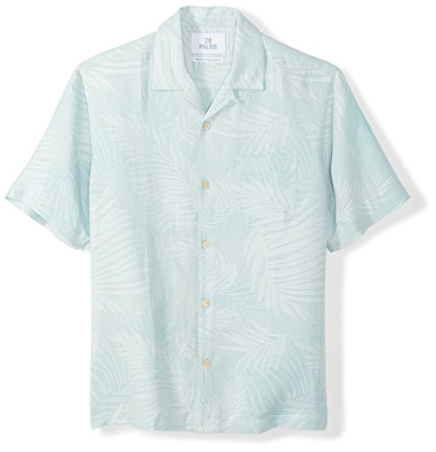 Hawaiian Linen (28 Palms Men's Relaxed-Fit Silk/Linen Tropical Leaves Jacquard Shirt, Aqua, XX-Large)