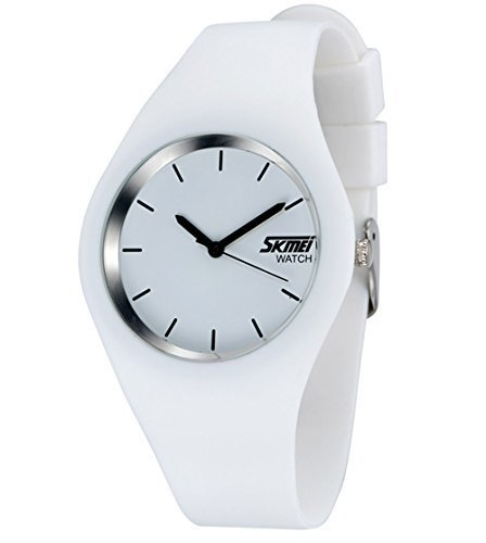 Gosasa Casual Simple Style Silicone Strap women Sports Watches 30M Waterproof (White) (Silicone Watch White)