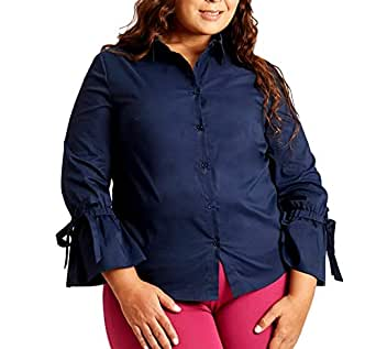 Susan Miller Women's Plus-size Long Sleeve 8 Navy Button Down Shirt Top