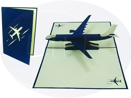 (LIN Pop Up 3D Greeting Card for Pilots and Flight Enthusiasts, Airplane, large card (6 x 7.8 inches), (#147))
