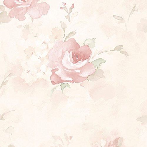 (Manhattan comfort NWAB27661 Waterbury Series Vinyl Watercolor Roses Design Large Wallpaper Roll, 20.5