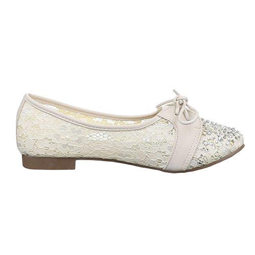 Ital-Design Damen Schuhe, A-100, Halbschuhe Schnürer Beige