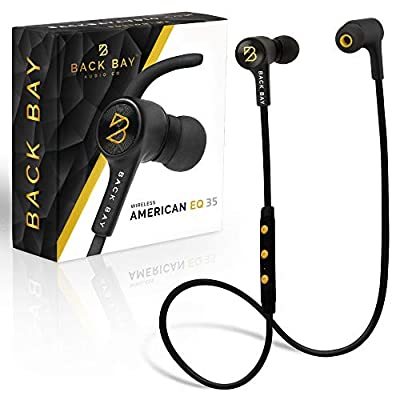 """Back Bayâ""""¢ - American EQ 35 - Wireless Bluetooth Earbuds. Sweatproof Stereo Headphones with 5 EQ Sounds Modes, 8-Hour Battery, Microphone, Magnet, 6 in-Ear Earphone Tips and Carrying Bag"""
