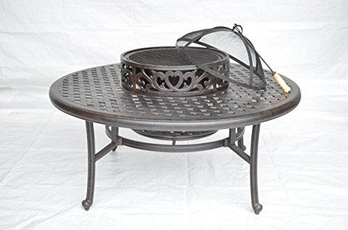 Nassau Outdoor Patio Ice Tea BBQ Fire Pit Round Coffee Table 52