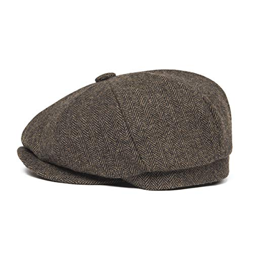 3a74e3f819e BOTVELA Men s 8 Piece Wool Blend Newsboy Flat Cap Herringbone Pattern in  Classic 5 Colors