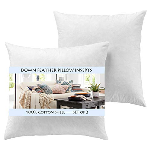 - YesterdayHome Set of 2-26x26 Euro Pillow Inserts-Down Feather Pillow Inserts-White