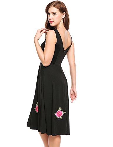 Party Cocktail Sleeveless Vintage ACEVOG 1950s Women Black Dress Swing Dresses qw0TqaYnx