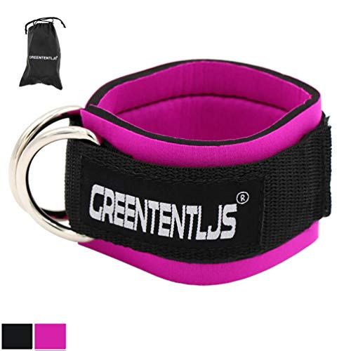 Greententljs Gym Padded Ankle Strap for Cable Machines - Double D-Rings Ankle Cuffs Attachment Workout for Leg and Glute Kickbacks, Hip Abductors, Lunge Exercises (1 Pack Rose-Pink)