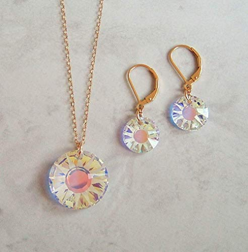 Frosted Aurora Borealis Sun Crystal Gold Filled Earring Necklace Set Made With Swarovski Gift Idea