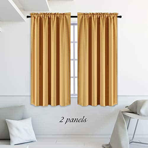 DONREN Gold Yellow Curtains for Kitchen Room Darkening Curtain Drapes with Rod Pocket 42 Inch Width x 54 Inch Length 2 Panels (Curtains Panels Gold 2)